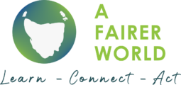 Photo of the A Fairer World logo and tag line